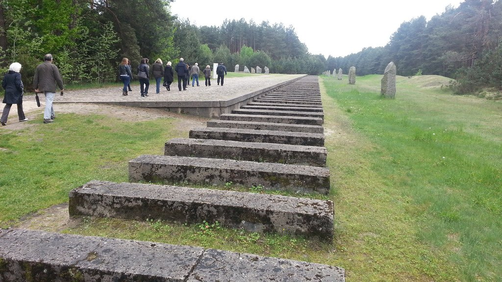 Symbolic concrete blocks mark the path of the former railway line at Treblinka.