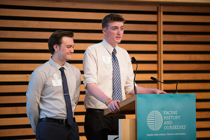 Left to Right: Students Ryan Venedam and Stephan Goslinski speaking of Nate's inspiration in their lives.  Photo credit: Nick Kozak