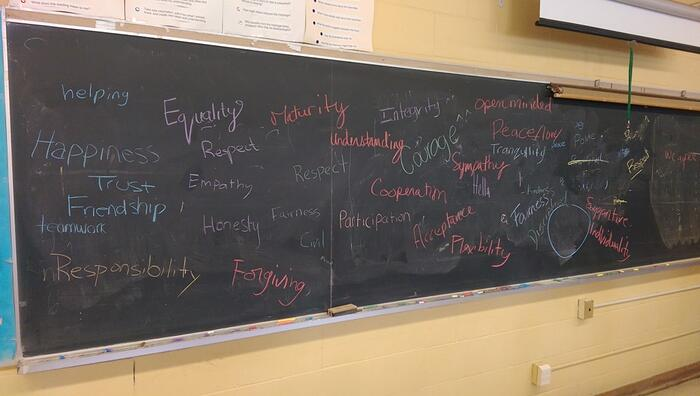 My class's chosen words to describe what a safe classroom feels like