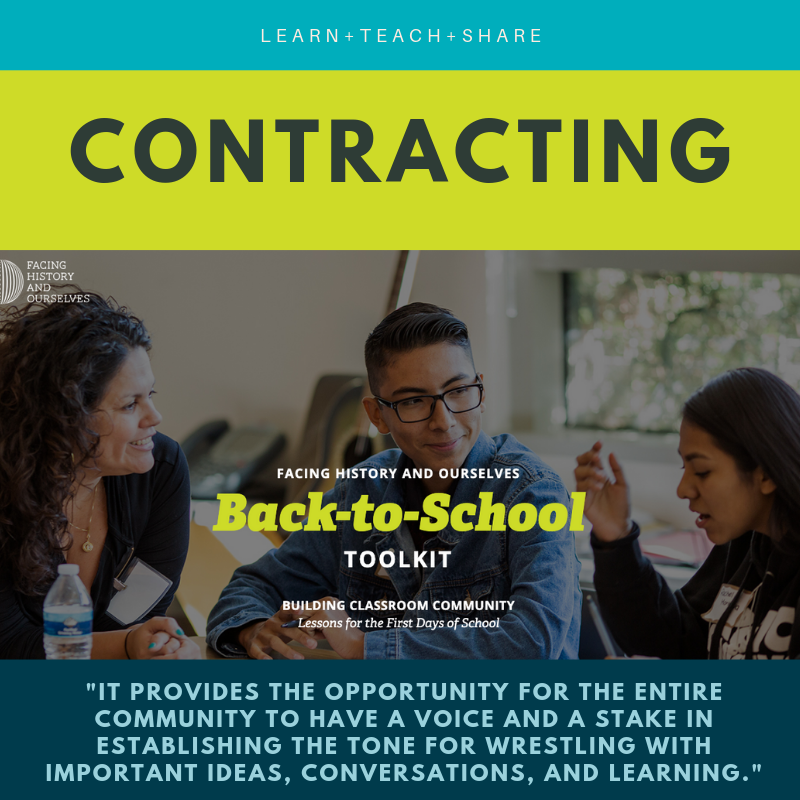 Students and educators discuss classroom community norms on the cover of our  back to school contracting toolkit